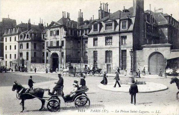 Façade de la prison Saint-Lazare, rue du Faubourg Saint-Denis, Paris Xe.