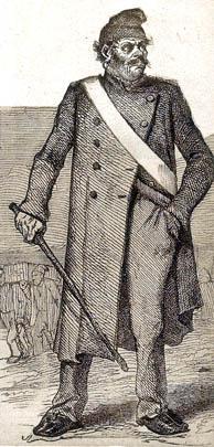 """Garde-chiourme des bagnes. Illustration du journal """"Détective"""" du 4 avril 1929."""