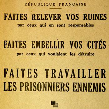 Texte figurant sur la couverture d'une brochure éditée par la préfecture de la Dordogne relative à l'emploi de la main composée des prisonniers de guerre allemands.