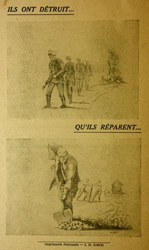 brochure éditée par la Préfecture de la Dordogne en août 1945 à propos de l'emploi de la main-d'œuvre constituée par les prisonniers de guerre allemands stationnés à Brantôme.
