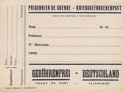 Carte de correspondance de prisonnier de guerre allemand;