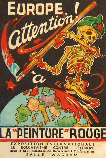 """Affiche : """"Europe attention à la 'peinture' rouge"""". Exposition à la salle Wagram, Paris, 1933."""