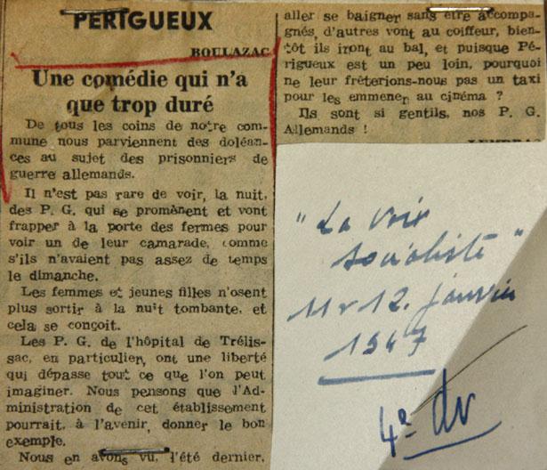 La Voix Socialiste des 11 et 12 janvier 1947 à propos des prisonniers de guerre allemands en Dordogne