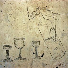 Graffiti sur le mur de la prison de la caserne Chanzy à Bergerac, Verres et bouteille de Monbazillac. Photo Jacky tronel, décembre 2004.