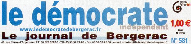 """Chapeau du journal """"Le démocrate indépendant – Le journal de Bergerac"""", édition du jeudi 16 février 2012."""