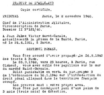 Sentence pénale prononcée par le Tribunal allemand du Gross Paris, le 2 novembre 1940, contre Jean Suret-Canale
