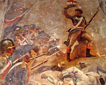 Fresque de la Caserne Chanzy. Charge à la bataille de Wattignies, octobre 1793.