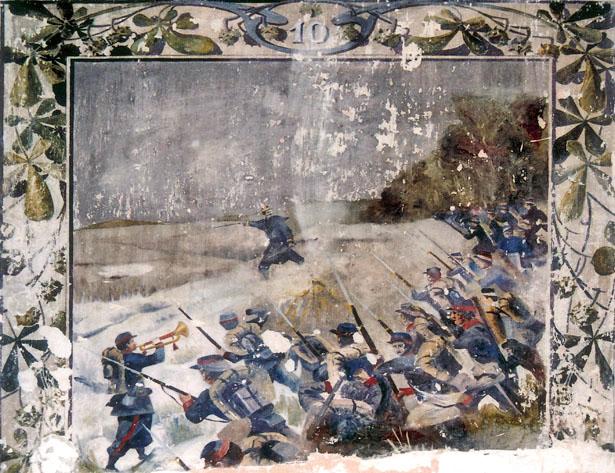 Fresque de la caserne Chanzy, à Bergerac : bataille de Villersexel du 108e RI.
