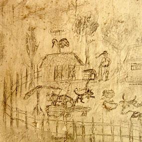 Graffiti sur les murs d'une des cellules disciplinaires de la caserne Chanzy de Bergerac. Scène de ferme en Alsace, 1944. Photo Hervé Couton.