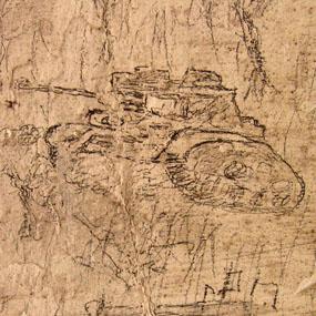 Graffiti sur le mur d'une cellule de la caserne Chanzy. Dessin d'un tank allemand. Photo Hervé Couton, 2004.