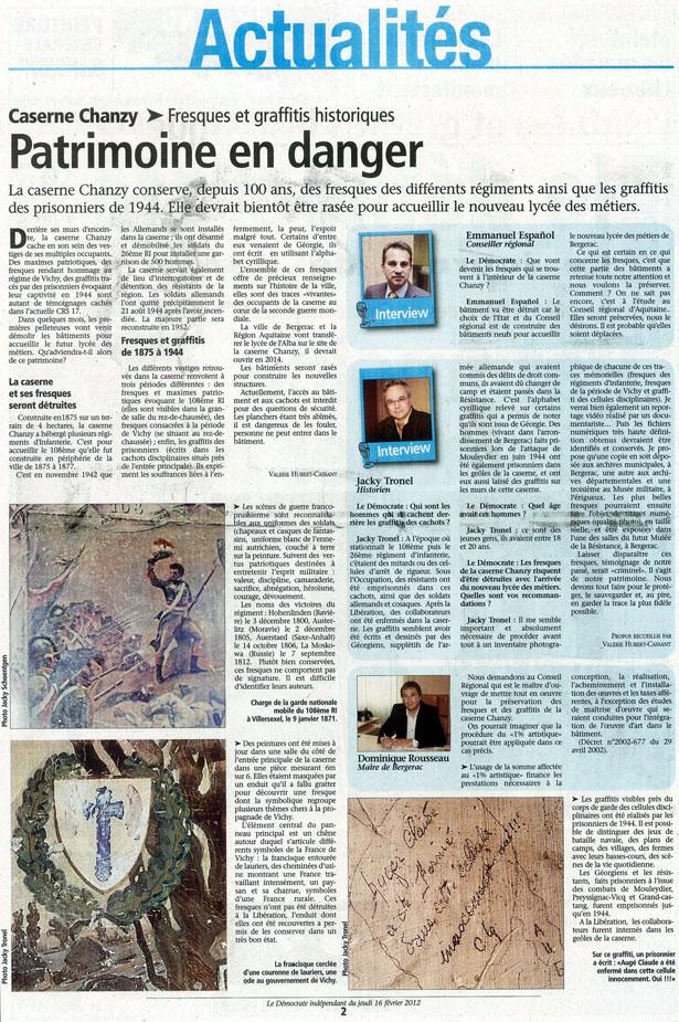 Le Démocrate de Bergerac enquête sur le sauvetage des fresques historiques de la Caserne Chanzy. Interview d'Emmanuel Español, Dominique Rousseau et Jacky Tronel. Édition du jeudi 16 février 2012.