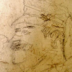 Profil d'un officier cosaque, l'un des supplétifs de l'armée allemande. Graffiti d'une des cellule disciplinaire de la Caserne Chanzy à Bergerac.