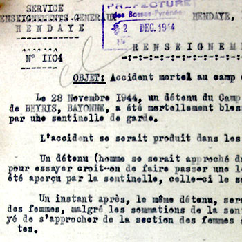 Accident mortel au camp d'internement de Polo Beyris, le 28 novembre 1944, à Bayonne