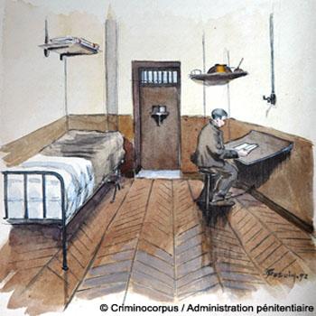 Intérieur d'une cellule à la prison de la Santé, en 1898.