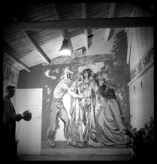 Fresque de la chapelle du camp de St-Sulpice la Pointe, peinte par Boris Taslitzky en 1944