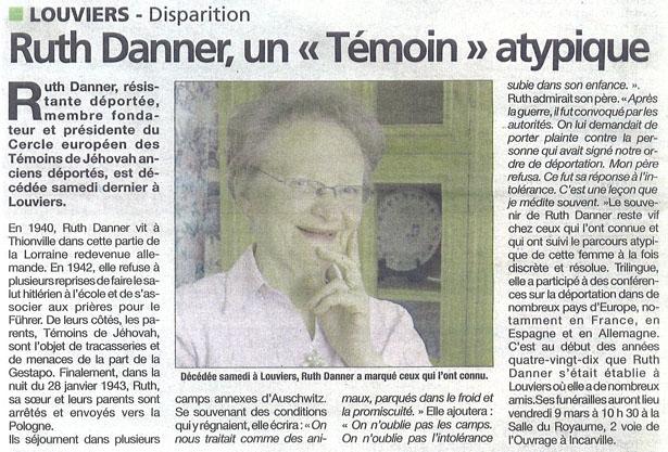 """Ruth Danne, un """"Témoin"""" atypique"""
