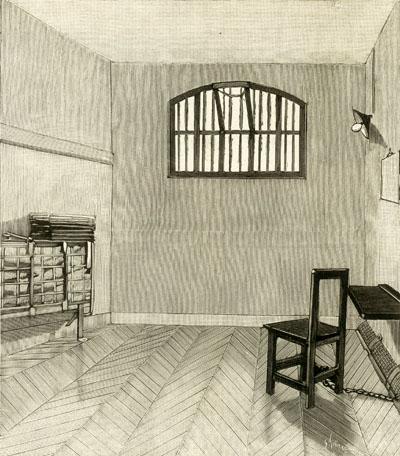 Cellule de détenu de droit commun à la prison de la Santé en 1899.