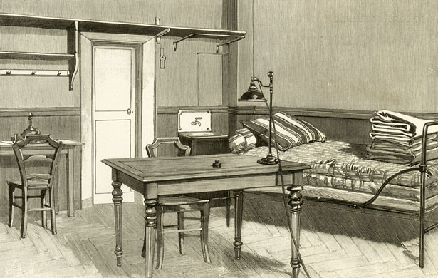 Cellule de détenu politique à la prison de la Santé, 1899