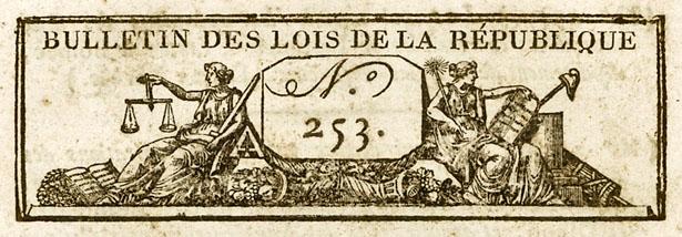 Bulletin des Lois de la République n° 253, nivôse an VII (janvier 1799)