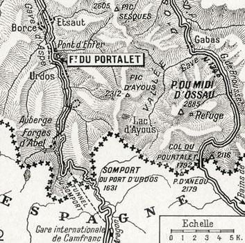 Carte situant le Fort du Portalet, prison d'État