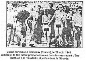 Cette photo de femmes tondues à Bordeaux, le 29 août 1944, aurait été publiée dans le journal Sud-Ouest