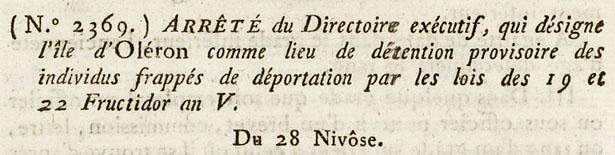Loi qui désigne l'île d'Oléron comme lieu de détention provisoire.