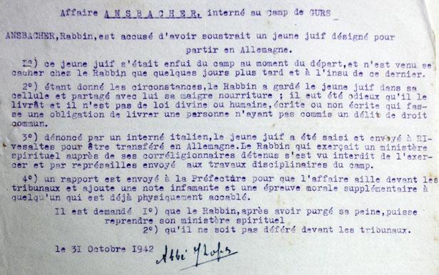 Synthèse de l'affaire du rabbin Ansbacher, accusé de complicité d'évasion de Manfred Bauer du camp de Gurs