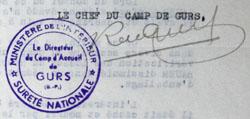 Tampon du directeur du camp de Gurs, René Gruel.