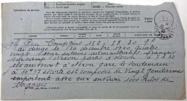 Télégramme annonçant le transfert de 96 indésirables français du camp de Gurs vers celui de Nexon