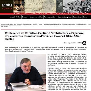 Page du site Criminocorpus dirigé par Marc Renneville.