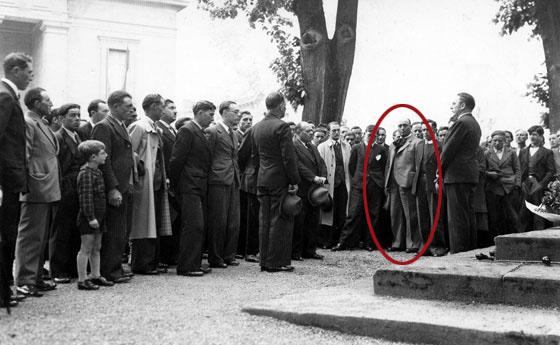 Sante Garibaldi au cours d'un meeting antifasciste à Bordeaux, en 1938. Coll. Annita Garibaldi Jallet.