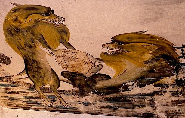 Fresque indochinoise à la Poudrerie de Bergerac, lions, © photo Jacky Schoentgen, 1993.