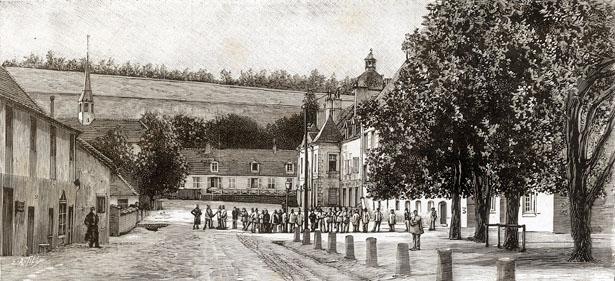Maison centrale de Clairvaux : 1. La chapelle. – 2. L'école communale. – 3. La caserne.