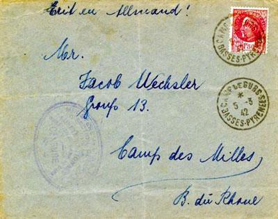 Courrier adressé à Jacob Wechsler, interné au Camp des Milles en mars 1942.