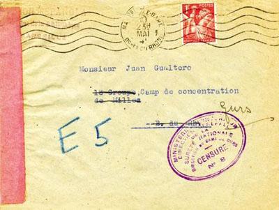 Courrier adressé à l'espagnol Juan Gualtero, intern au camp des Milles puis transféré au camp de Gurs.
