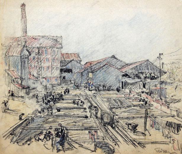 La Tuilerie du Camp des Milles, auteur non identifié, coll. de l'Association philatélique d'Aix-en-Provence. Gallerie Alain Paire.