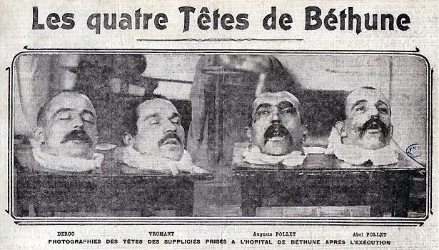 """""""Les quatre têtes de Béthune"""", celles de la Bande à Pollet, 11 janvier 1909."""