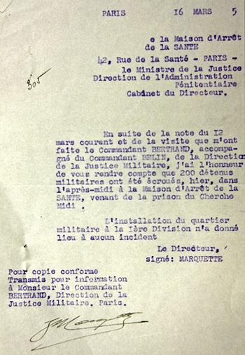 Note du 16 mars 1945 du directeur de la prison de la Santé annonçant l'arrivage de 200 détenus militaires en provenance du Cherche-Midi.