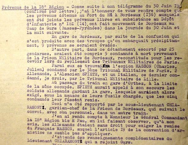 Extrait du rapport du commissaire Soulié près le tribunal de la 18e région militaire, 4 juillet 1940.