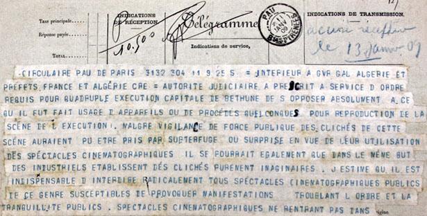 Extrait du télégramme de l'Intérieur instituant la censure cinématographique, 11 janvier 2009