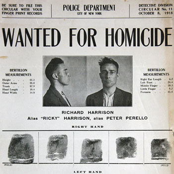 "Richard Harrison : ""Wanted for homicide""."