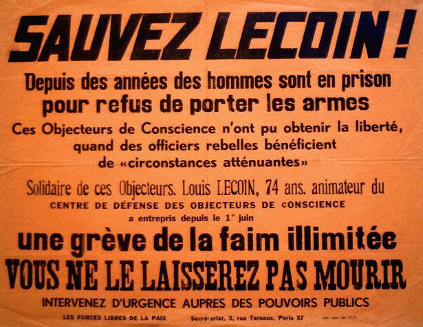 """Affiche """"Sauvez Lecoin"""", en grève de la faim, juin 1962."""