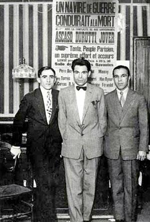 Francisco Ascaso, Buenaventura Durruti et Gregorio Jover dans les locaux du Libertaire, le 14 juillet 1927