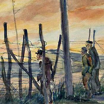 Julius C. Turner, Männer im Morgenrot vor dem Stacheldrahtzaun (1941)