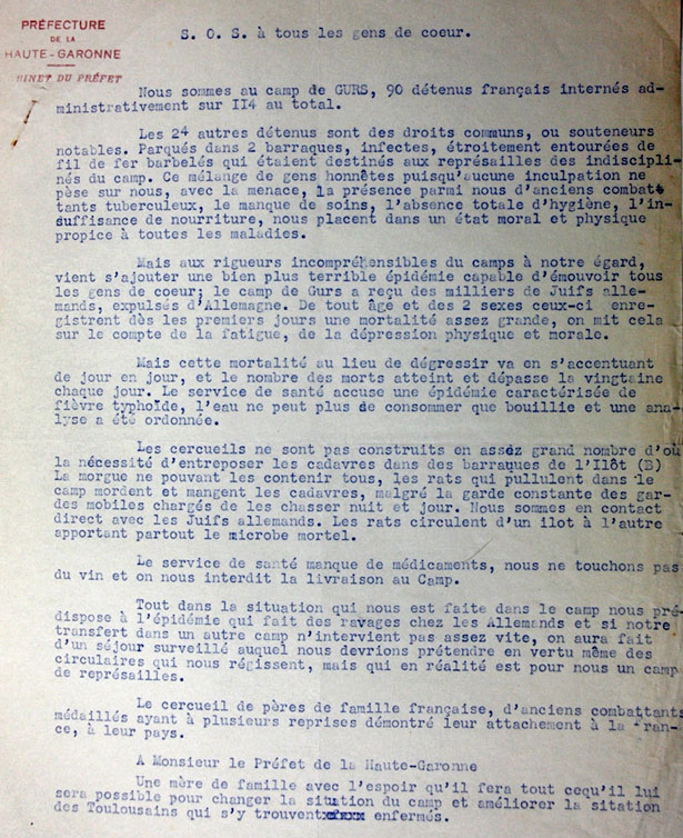 Camp de Gurs, novembre 1940, indésirables français