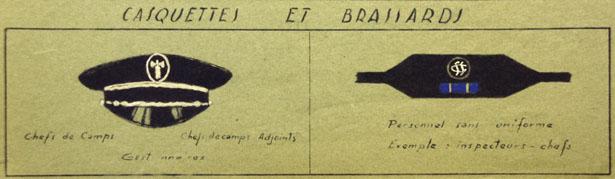 Casquette et brassard du personnel d'encadrement et de garde des Centres de séjour surveillé. Circulaire du 15 décembre 1943. Source AN F/7/15089