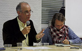 Claude Laharie et Christophe Lastécouères aux 7e rencontres historiques du Fort du Portalet.