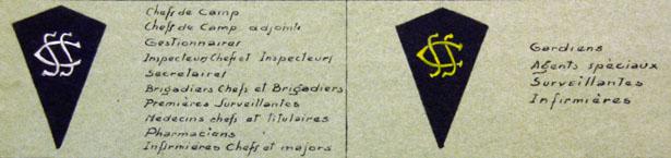 Ecussons du personnel d'encadrement et de garde des Centres de séjour surveillé. Circulaire du 15 décembre 1943.