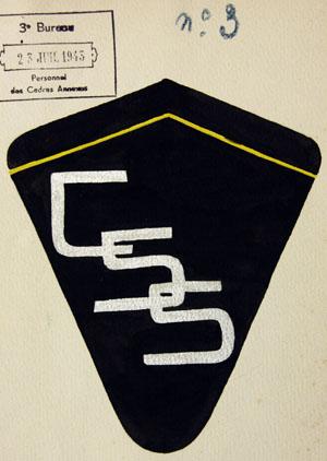 Projet n° 3 d'insigne pour le personnel d'encadrement d'un centre de séjour surveillé, juillet 1943.