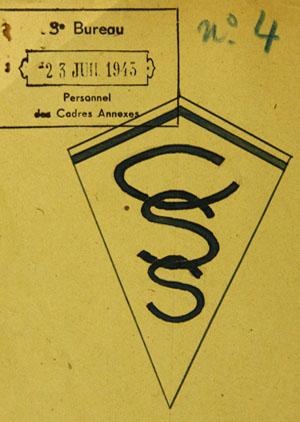 Projet n° 4 d'insigne pour le personnel d'encadrement d'un centre de séjour surveillé, juillet 1943.